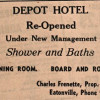 Ad for Depot Hotel