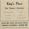 Ad for King's Place & Eatonville Blacksmith & Machine Shop (1929)