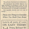 T. C. Van Eaton Ad for New Homes (1913)
