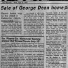1987 Article – Sale of George Dean Home Prompts Flood of Recollections