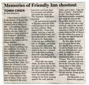 Memories of Friendly Inn Shootout, by Pat Hamilton