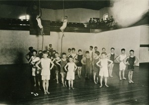 5th Grade Boys using the gym in ca. 1915