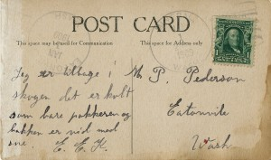 1909 Postcard to M. T. Peterson