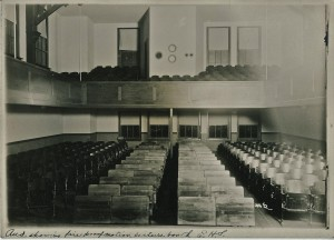 Auditorium in 1915, equipped with fire proof motion picture booth