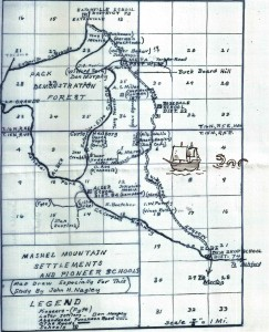 Map of Pioneer settlements & schools