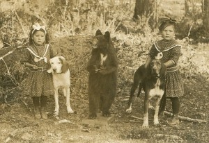 Clara's daughters Clara and Bessie with their hunting dogs and photographer's stuff bear.