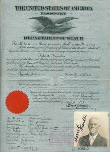 Robert Fiander passport - 1919 - to visit British Isles