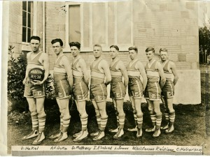 1923 Winning Basketball team — D. Hakel, A.E. Duke, D. Matheny, E. Elmlund, L. James, D. Christensen, R. Williams and C. Halverson