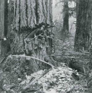 George & Willie Boettcher sitting inside an old growth tree