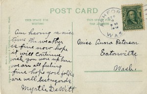 Peterson Postcard from Myrtle DeWitt, 1909 - Ashford (Side 2)