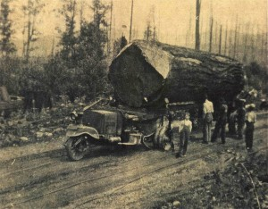Early three-wheel logging truck