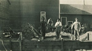 1915 Construction — Nate William center, brother Ed Williams right and Bill Oxley in rear