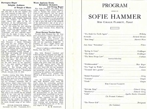 Program for Sofie Hammer performance, 1912