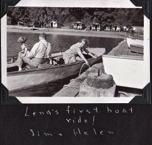 Lena's first boat ride at Seal Rock in 1939