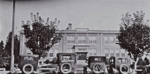 Eatonville High School and cars around 1929
