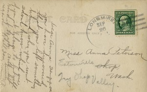 Hotel Longmire Springs postcard to A. Peterson (ca. 1912)