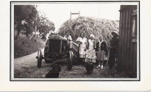 Kjestand family haying — Olava in the center