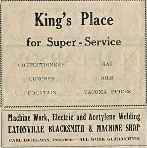 King's Place and Eatonville Blacksmith Ads (1929)