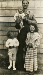 John J. Van Eaton with children, Joan, Terry and baby James Patrick.