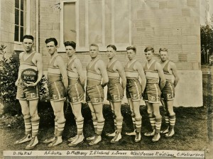 Coach Davis, Dolphie Hekel, Arthur Duke, Donovan Matheny, Irving Elmlund, Lloyd James, Dan Christensen, Ray Williams and Clarence Halverson, Richard King, Arthur Swanson