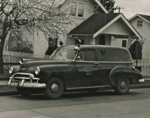 Sheriff Jim Smith's patrol car with two-way radio (ca. 1951)