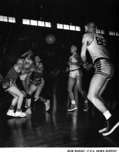 Eatonville 1952 BB team — The Basketball picture features Jim Delgianni #85, Mickey Morrow #88, and Ernie Jones #89