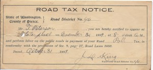 Road Tax Notice 1899