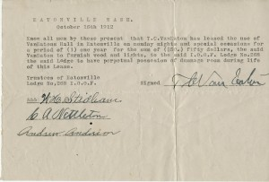 Van Eaton Hall receipt (1912)