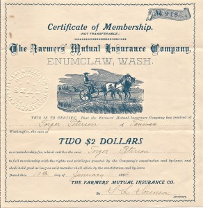 Torger's Farmer's Insurance membership - 1906