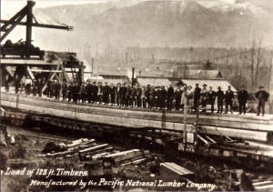 Load of 128-foot timbers, manufactured by Pacific National Lumber Co.