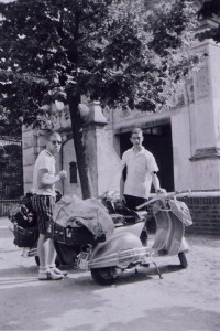 Terry and Tom Van Eaton in Europe traveling on Vespas