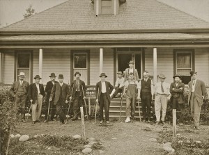 Dentist David Cook, third from the right, in front of the Bridge Hospital in Eatonville