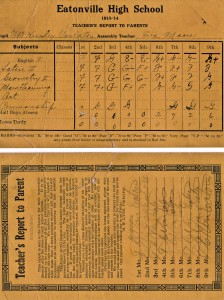 Mack Van Eaton's report card (1913-1914)