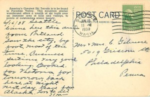 Back of Postcard of Mazama Ridge (1938)