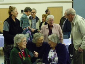 Left to right: Vera Byrd, Helen Miller, Martha Parrish, Keith Malcolm. Dr. Tom Van Eaton behind in blue flannel shirt.