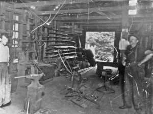 Frank Dunkhorst at his blacksmith shop on Mashell (early 1900s)