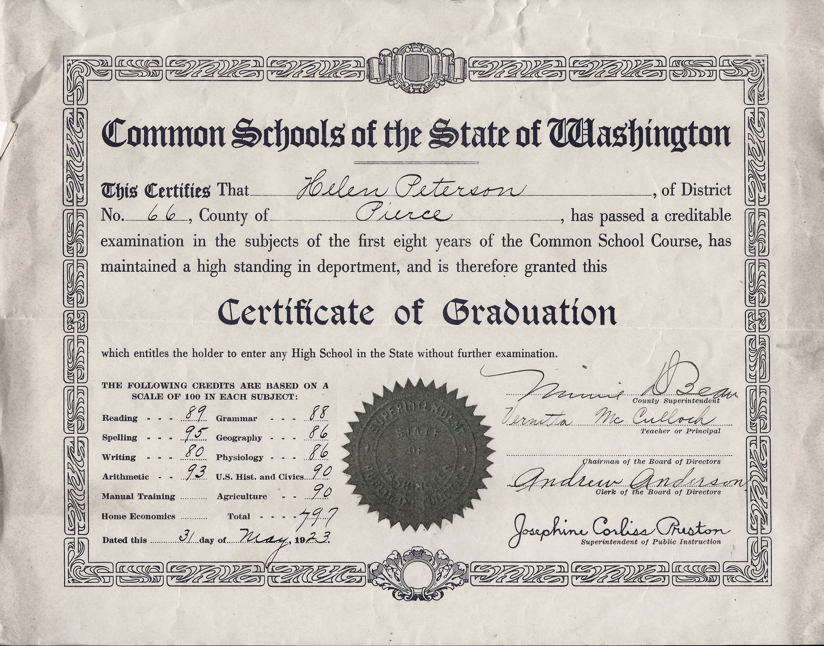 Eatonville to rainier peterson 8th grade certificate of helen petersons certificate of 8th grade graduation xflitez Images