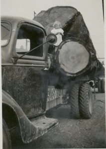 Virginia Swanson on family truck (1930s)
