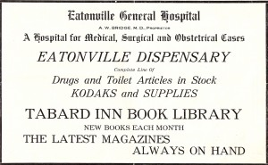 1913 Eatonville General Hospital Ad