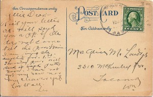 Early 1900 Kapowsin postcard (back)