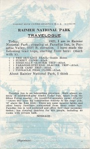 Rainier National Park Travelogue 1923, back pg.