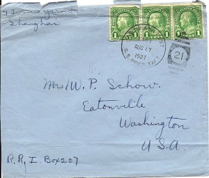 Envelope from Shanghai to Eatonville