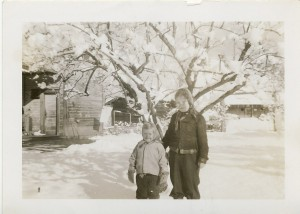 Linda and Cathy Lewis enjoying a snowfall