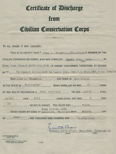 John Van Eaton's Letter of Discharge from the CCC in 1934
