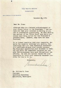 Bootstrap Letter from the White House 1954