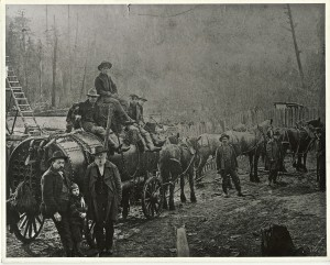 Moving First Boiler to Sawmill, early 1900s
