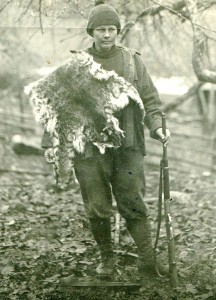 Picture of Clara Jensen that appeared in Sunset Magazine. Pelt is of the 45-pound wildcat she took down.