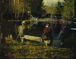 Charley's pond —Charley on left in later years