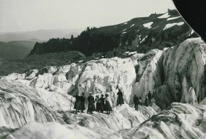 Marie Lutkins Drussel (in white hat) with friends on a Mt. Rainier glacier