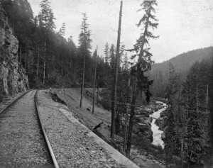 Railroad along Nisqually River, early 1900s